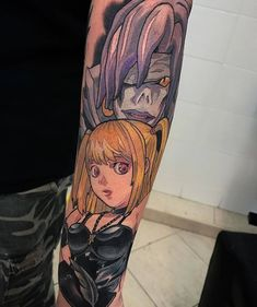 Misa & Rem💖by Visit for the best gamer tattoos! To submit your work use the tag Gamer Tattoos, Bts Tattoos, Anime Tattoos, Sleeve Tattoos, Tatoos, Tattoo Off, Note Tattoo, Death Note, Geeks
