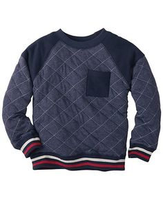 With its forever-favorite softness and kid-caring construction, this sturdy cotton sweatshirt is the ultimate in cozy cool. Bonus points for the awesome quilting plus contrast callouts at the shoulders and pocket.   <br>•Diamond quilted cotton poly jacquard body <br>•Shoulders & pocket are combed cotton <br>•French terry knit  <br>•Raglan sleeves <br>•Front patch pocket <br>•Striped ribbed cuffs and hem <br>•Certified by Oeko-Tex® Standard 100 <br>•Pre...