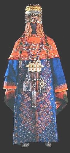 Karakalpak jewellery shown on a traditional costume from that region in Uzbekistan. Image from the publication *Uzbek Embroidery in the Nomadic Tradition* by Kate Fitz Gibbon and Andrew Hale, Costumes Around The World, Jewelry Show, Folk Costume, Ethnic Jewelry, Beaded Jewelry, Ethnic Fashion, Historical Clothing, Traditional Dresses, Textile Design