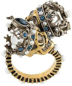 Alexander McQueen king and queen skull ring