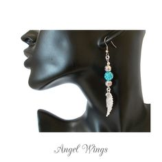 Blue Angel Wing Earrings. 10mm Shamballa beads with Czech Rhinestones for brilliant sparkle.