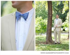 Becky+Ryan's beautiful Southern soiree at Old Salem in Winston-Salem, NC   Images ©2013 Glessner Photography   Groom   Khaki Suit   Bowtie   Gingham