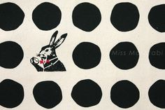 Japanese Fabric Kokka Etsuko Furuya x Nunokara - white rabbit - A - black