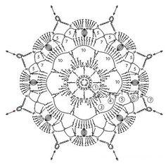 Crochet Snowflake Pattern, Crochet Mandala Pattern, Crochet Square Patterns, Crochet Blocks, Crochet Snowflakes, Crochet Diagram, Crochet Chart, Crochet Squares, Doily Patterns