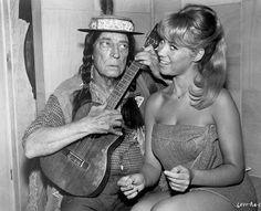 """"""" Buster Keaton serenades Bobbi Shaw on the set of Pajama Party (1964) """""""