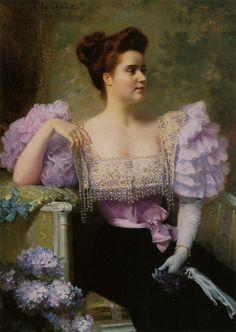 """""""Jeune Femme en Tenue de Soirée Assise près d'un Bouquet D'hortensias"""" by Jules Louis Machard"""