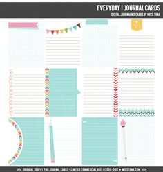 Everyday 1 Digital Journal Cards - 3x4 project life inspired printable scrapbooking journaling note cards  - instant download - CU OK