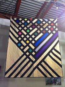 A Mondrian-esque quilt at the Modern Quilt Guild Pop-Up Show in Kenosha, WI.
