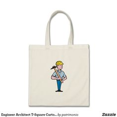 Engineer Architect T-Square Cartoon Tote Bag. Tote bag with a cartoon style illustration of a construction engineer standing holding a T-square. #totebag #engineer #tsquare
