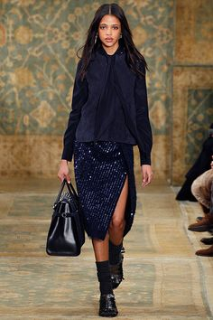Matte and shine: suede and silk, sequins and alpaca #toryburch #toryburchfall15  #nyfw