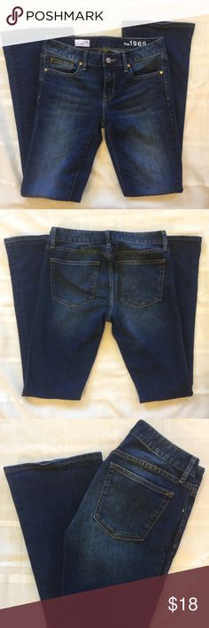 """GAP 1969 Curvy Jeans Love at first sight? It will be with these babes!  Like new dark denim GAP 1969 Curvy Jeans.                                  Material is 87% cotton 12% Polyester and 1% spandex.                    Measurements.:                                                                15"""" waist 8 raise  32"""" inseam 9"""" leg opening   Measurements taken laying flat. (Waist was taken flat from side to side) All approx however care taken to insure accuracy. GAP Pants"""