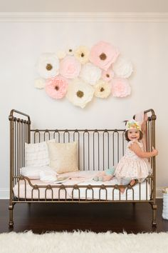 Crepe Paper Three Dimensional Flower Wall Decals in Girl's Toddler Room
