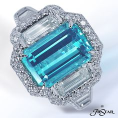 Stunning emerald cut Paraiba and diamond ring by JB Star.  Available at Alson Jewelers.