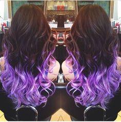 Purple dip dye #hair #purple. I really want this!! Ya so cute an looks easy!