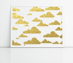 Gold and white clouds, gold foil effect art, feminine art, nursery prints, uk art, home decor wall art, cool prints, home or office prints
