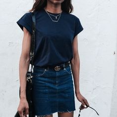 Click the link below to shop the skirt like the one in the look above -- https://shimainadesign.wooplr.com/product/faballey/5123337378070528/denim-a-line-skirt-dark-wash