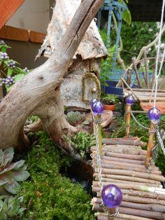 Fairy garden bridge - marbles for post ends - adorable