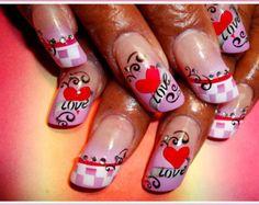 airbrush nail art valentines day