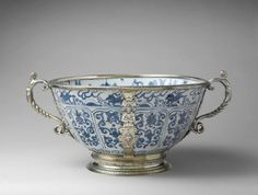 Ming Porcelain Bowl China, London England, ca. 1585 porcelain with silver gilt mounts, D. (with handles) 46.4 cm The Met, 44.14.4