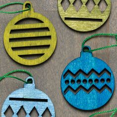 A Set of 24 Alpine Ornaments laser cut in poplar plywood and then hand dipped in a water based stain that saturates the wood while emphasising its character. Use them to decorate your tree, tie them on packages or string them into a garland.