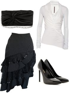 """""""Black pinstripe."""" by kristina-norrad ❤ liked on Polyvore"""