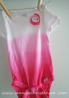 Pink tie dye onesie with fabric flower -- so cute!