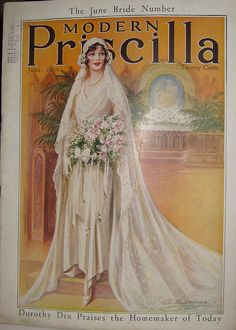 A bride in 1930- draped, bias cut, ankle length dress worn with Juliet cap and long lacy train, white gloves, short pearl necklace and bouquet of pink and white flowers with trailing ribbons. From 'Modern Priscilla' magazine, 1930.