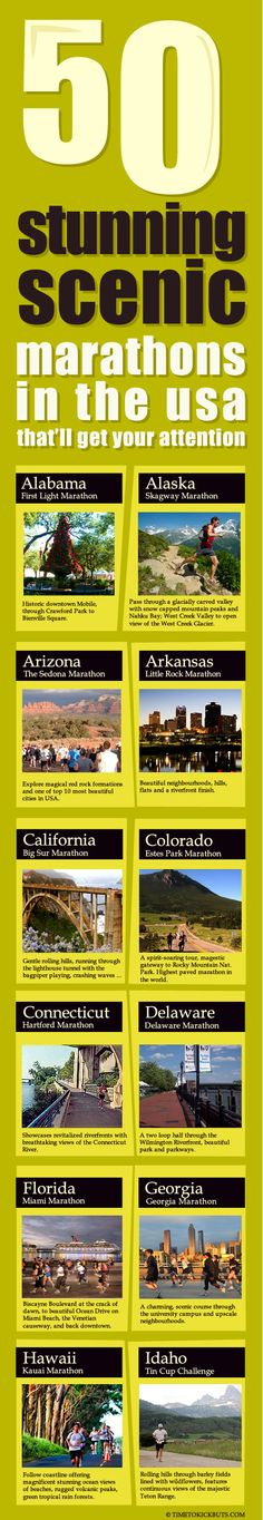 Most Scenic Marathons in the US - one from each State.  Maybe the halves could be a good goal! :)