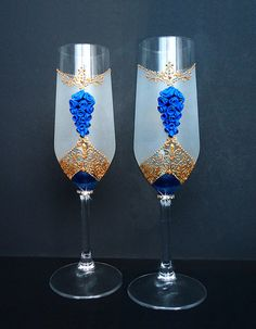 Wedding Champagne Glasses Toasting Flutes by JoliefleurDeco