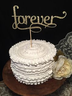Forever Glitter Birch Wood Cake Topper