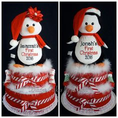 1st Christmas Diaper Cakes with Custom Embroidered Plush Penguin. www.facebook.com/DiaperCakesbyDiana