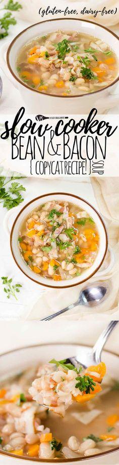 Bean and Bacon Soup {Campbells Copycat} - Gluten Free Recipes Copycat Recipes, New Recipes, Soup Recipes, Vegetarian Recipes, Easy Recipes, Easy Meals, Healthy Recipes, Amazing Recipes, Healthy Eats