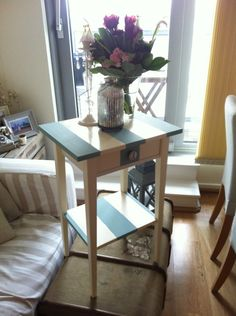Adorable Striped Side Table...from the mind of a dear friend! Check her out:  http://www.etsy.com/shop/elizabethgreenwich