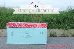DIY storage ottoman awesome idea for the trunks in my living room - similar except not painting the trunk, but have a cushy top. Diy Storage Ottoman, Diy Ottoman, Crate Storage, Painted Trunk, Woodworking Projects, Diy Projects, Trunks And Chests, Beach Design, Decorating Coffee Tables