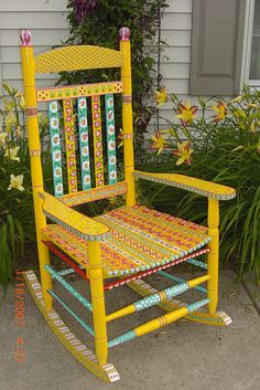 FUN!  Hand-painted Porch Rocker by KaboodleKool, via Flickr
