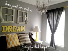 we love this yellow & gray palette in this #bedroom! | bedroom