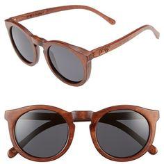 Proof Eyewear 'Hayburn Wood' 50mm Retro Sunglasses ($130) ❤ liked on Polyvore featuring accessories, eyewear, sunglasses, wood sunglasses, wooden eyewear, retro glasses, round frame sunglasses and retro style sunglasses