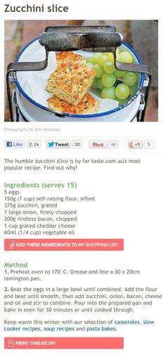 Zucchini Slice Recipe   Taste.com.au
