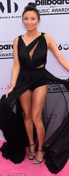 Long black dresses: Singer Bebe Rexha and Jeannie Mai wore black dresses; Bebe's had a thigh slit while Jeannie's featured a mesh skirt Blue Aint Your Color, Makeover Shows, Jeannie Mai, Black Underwear, Killer Legs, Fashion Network, See Through Dress, Bebe Rexha, Diane Lane