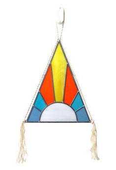 Stained Glass Pyramid With Signature Rope Tassels on Chairish.com