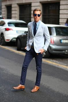Men's Light Blue Blazer, Light Blue Dress Shirt, Navy Chinos, Tan Leather Oxford Shoes