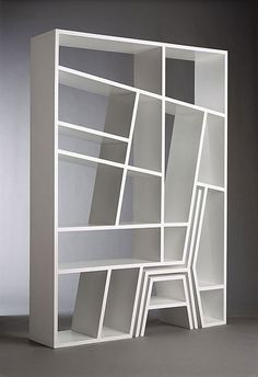 A bookshelf with a nested stool. Great design!