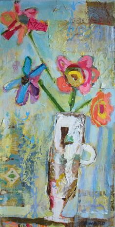 Christy Kinard Such joyful colors, and in such a rough medium for a bouquet of posies - I love it.