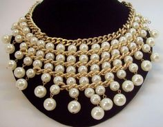 Imitation Pearls & Goldtone Metal Chains Layered Dangle Bib Necklace #Lucid #Collar