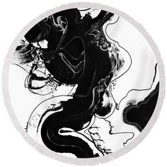 Black And White. Dynamic Abstract Original Art .dramatic Full Of Contrast Round Beach Towel featuring the painting The Escape Plan by Expressionistart studio Priscilla Batzell