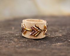 "Bohemian Leather Beaded ""Rustic"" Ring, Boho Chic Tribal Arrow Gypsy Soul Hippie Unique Beige Leather Statement Stackable Ring ByLEXY by ByLEXY on Etsy"