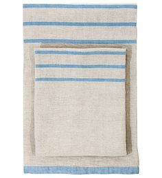 """Lapaun Kankurit are masters in Finnish linen and textiles and this super soft washed linen bath sheet / towel is a great example. Usva, means """"Haze"""" in Finnish and this hazy neutral background is the basis of this super soft, light & absorben Blue Hand Towels, Bath Sheets, Sauna, Home Look, Soft Furnishings, Scandinavian Design, Bath Towels, Blue Stripes, Home Accessories"""