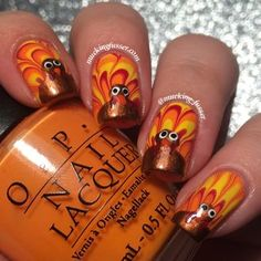 water marble turkey tail feather nails by mucking_fusser #fav