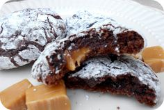 Six Sisters Caramel Chocolate Brownie Crinkle Cookies are so easy with a cake mix! We love these cookies!