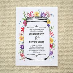 Watercolor Garden Wedding Invitation  DIY by AmyAdamsPrintables, $25.00. Hand-painted wildflowers. red gingham, and an illustrated mason jar.